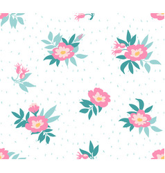 seamless background with wild roses vintage style vector image