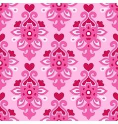 Seamless pattern Flourish love heart vector image