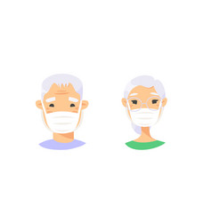 Set asian elderly male and female characters vector