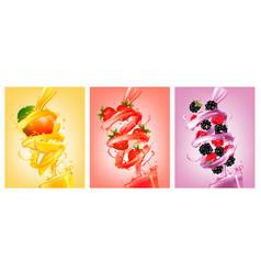 Set labels fruit in juice splashes vector
