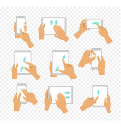 set of flat hand icons showing vector image