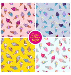 Set of seamless summer pattern with icecream for vector