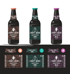 Set of templates label for craft beer vector