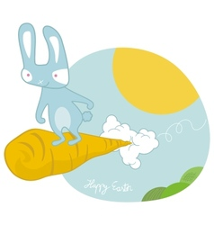 Sky surfing easter bunny vector