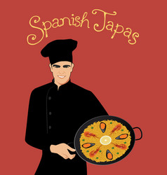 Spanish tapas handsome spanish chef wearing a vector