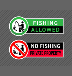 sticker set no fishing or fishing allowed vector image
