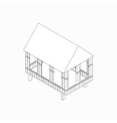 Stilt house icon isometric 3d style vector
