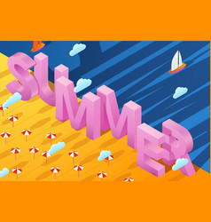 summer poster with 3d paper letters on sand vector image