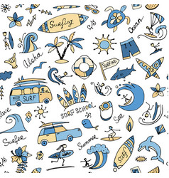 surfing seamless pattern sketch for your design vector image