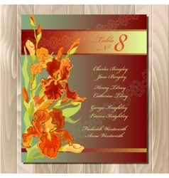 Table guest list Background with red iris flowers vector image