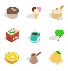 Tea enjoyment icons set isometric style vector