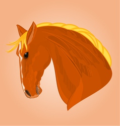 The head of a red horse stallion drawing il vector