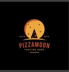 vintage retro logo pizza and moon vector image
