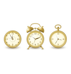 watches and alarm clock collection in golden vector image