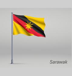 Waving flag sarawak - state malaysia on vector