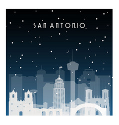 Winter night in san antonio night city in flat vector