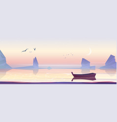 Wooden boat on sea lake or pond scenery landscape vector