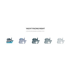 Yacht facing right icon in different style two vector