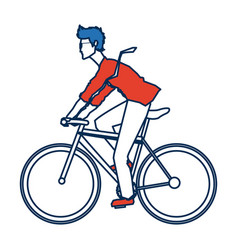 Young man riding bicycle transport design vector