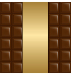 Chocolate Background With Gold Paper vector image vector image