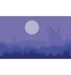 Halloween foogy castle and moon vector image vector image