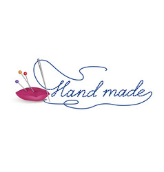 hand made dress symbol needle thread sewing sign vector image