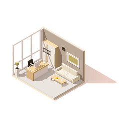 isometric low poly office room vector image vector image