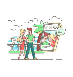 young couple in love with phone vector image vector image