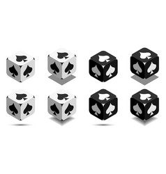cube with card spade in black and white colors vector image