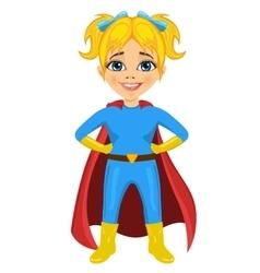 Cute little girl dressed as a superhero vector