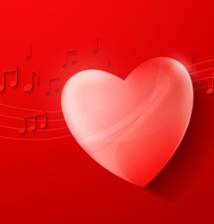 Heart on Red Background Love Music Concept Design vector image vector image