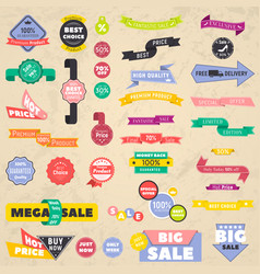 set of discount banners representing labels vector image
