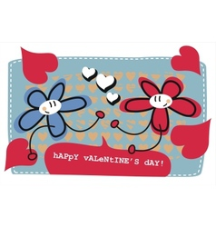 valentines day doodle card vector image vector image