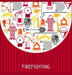 background with firefighting items fire vector image vector image