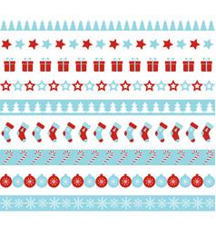 christmas borders seamless ornament vector image vector image