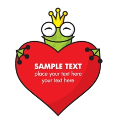 Cute Frog prince with heart vector image
