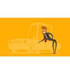 Happy salesman businessman handing car keys vector image