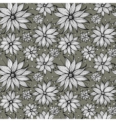 Seamless floral doodle background pattern vector image vector image