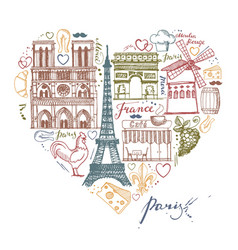 the sketches about france and paris in the shape vector image vector image