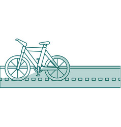 Bicycle vehicle in the road isolated icon vector