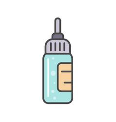 bottle with liquid medicine linear icon vector image