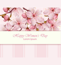 cherry flowers branch happy women day card vector image