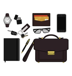 Every day carry man items Businessman vector image vector image