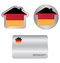 Home icon on the Germany flag vector image