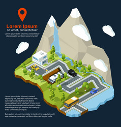 isometric street urban elements on 3d map vector image vector image