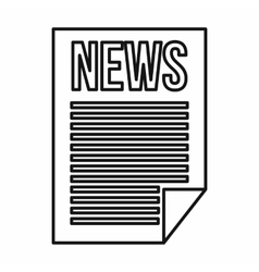 Newspaper icon outline style vector image
