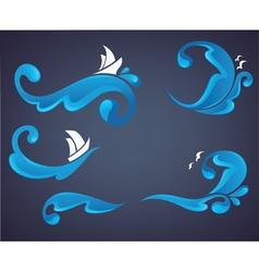sea and ocean wave vector image