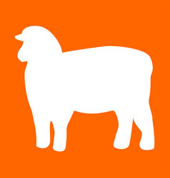 sheep silhouette white icon vector image