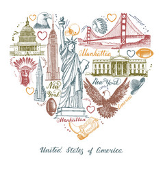 sketches of symbols of the usa in the form of a vector image vector image