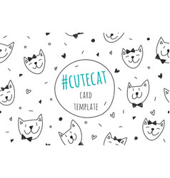 smile cats faces card vector image vector image